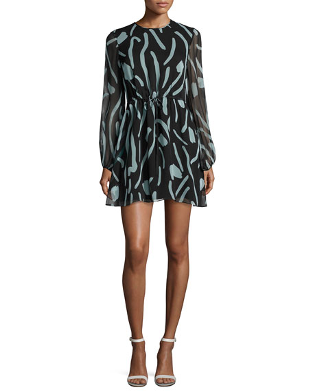 Diane von Furstenberg Long-Sleeve Crewneck Silk Mini Dress,
