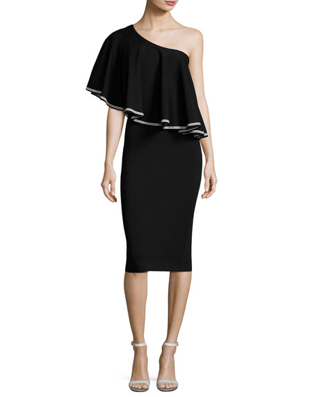 One-Shoulder Ruffle Front Midi Dress, Black/White