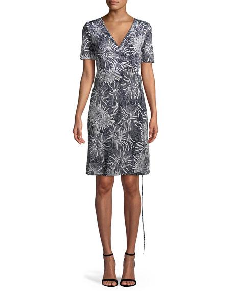 Diane von Furstenberg Short-Sleeve Floral-Print Wrap Dress, Blue