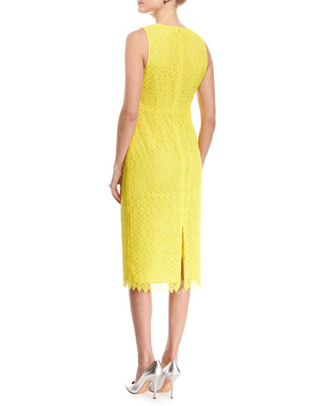 Sleeveless V-Neck Tailored Midi Dress, Yellow