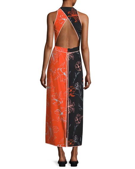 Sleeveless Paneled Floor-Length Dress, Multi