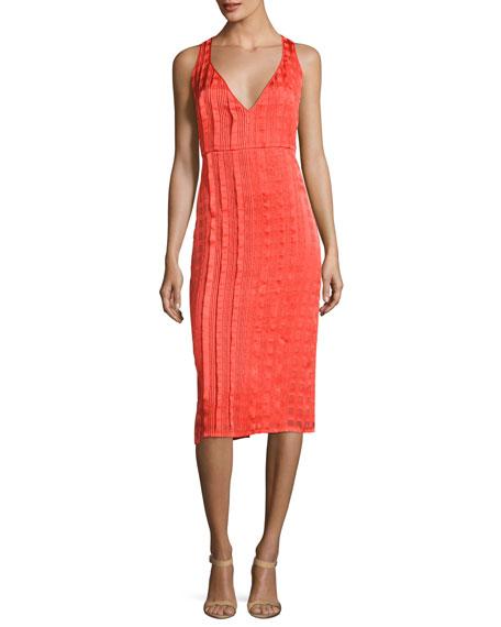 Sleeveless V-Neck Tailored Midi Dress, Red