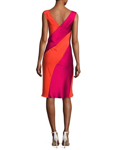 Cap-Sleeve Bias-Paneled Dress, Red