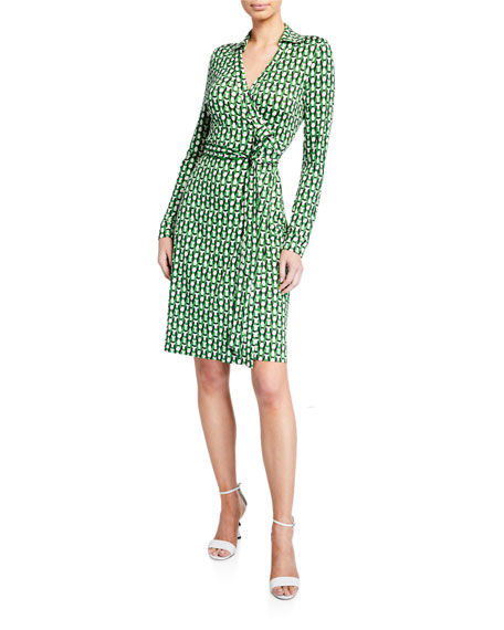 Diane von Furstenberg Long-Sleeve Knit Colorblock Midi Dress,