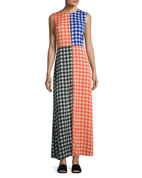 Diane von Furstenberg High-Neck Sleeveless Check Maxi Dress,