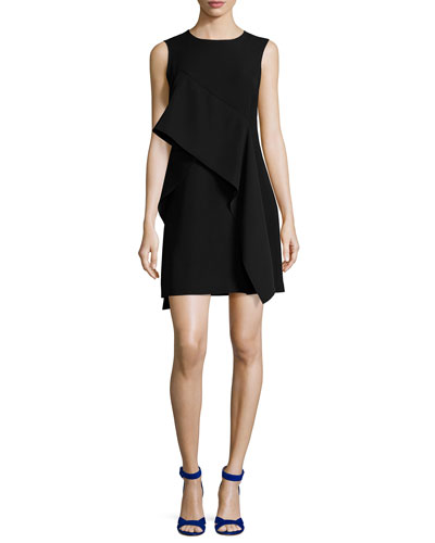 Ruffle-Front Sleeveless Crepe Mini Dress, Black