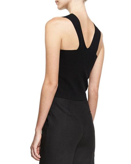 Sleeveless Paneled Knit Blouse, Black
