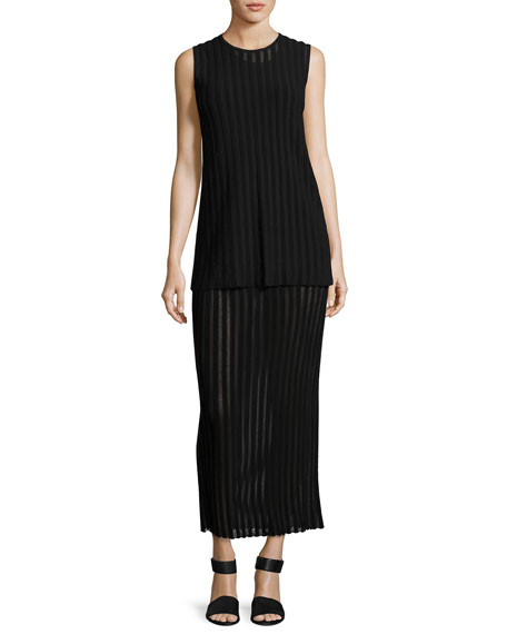 Two-Tiered Sleeveless Knit Maxi Dress, Black