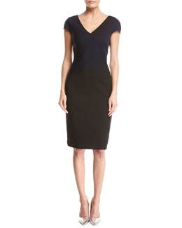 Banded Colorblocked Cap-Sleeve Dress, Blue