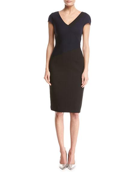 Diane von Furstenberg Banded Colorblocked Cap-Sleeve Dress, Blue