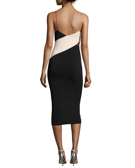 Aurora Colorblock Fitted Midi Dress w/ Cutouts, Multi