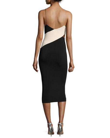 Aurora Colorblock Fitted Midi Dress w/ Cutouts, Multi