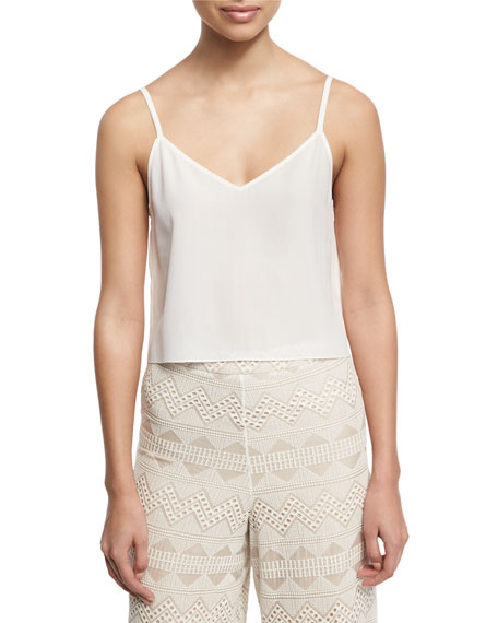 Lauren V-Neck Silk Tank, White