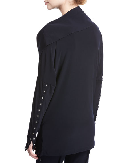 Side-Snap Long-Sleeve Pullover Jacket, Navy