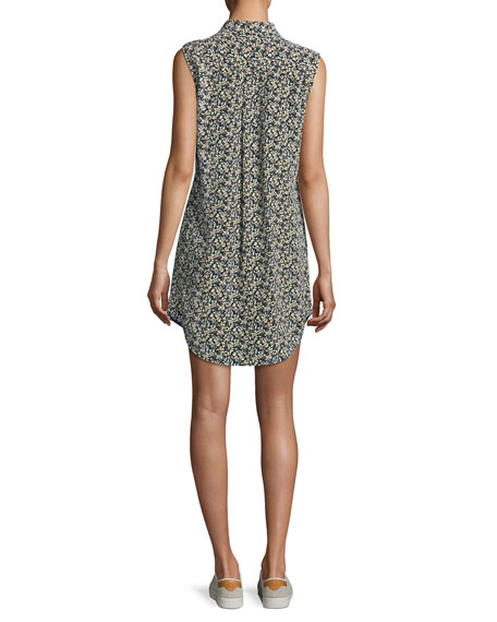 Sleeveless Slim Signature Silk Dress, Blue Pattern