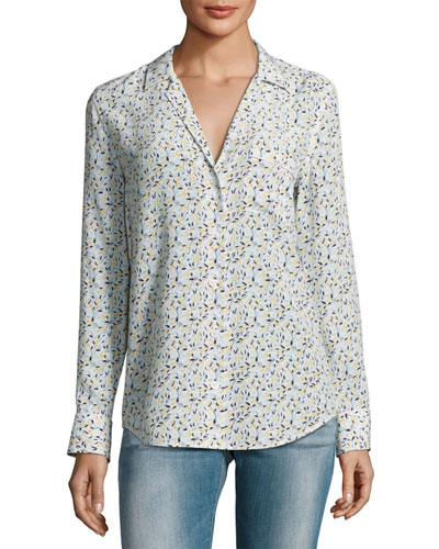 Keira Long-Sleeve Silk Shirt, White Pattern
