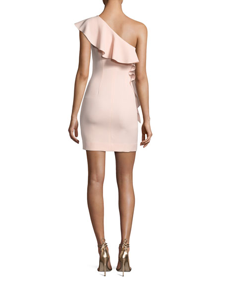 Zoey One-Shoulder Ruffle Cocktail Dress, Pink
