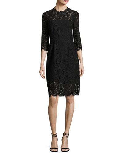 Kyle Open-Back Lace Cocktail Midi Dress