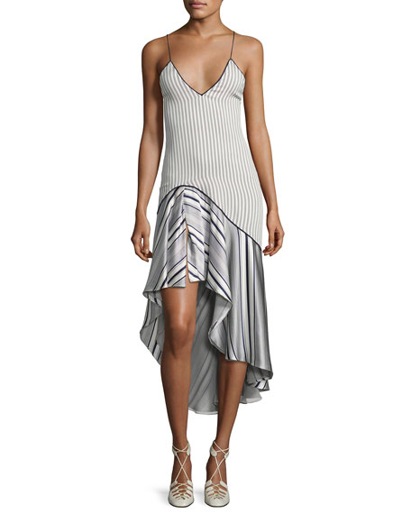 Multimedia Linear Print High-Low Dress, Blue Pattern