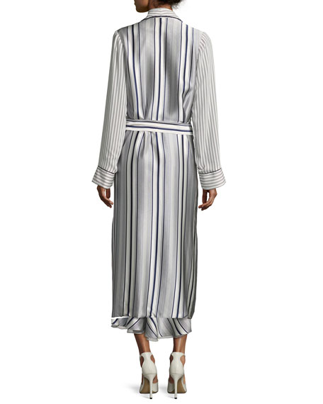 Multimedia Linear-Printed Long Cardigan, Blue Pattern