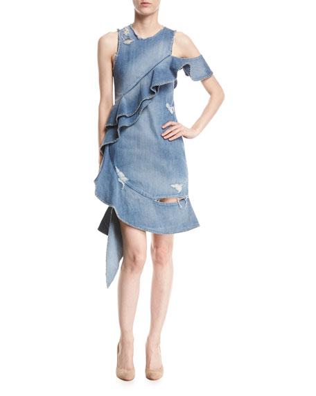 Asymmetric Ruffled Distressed Denim Dress, Indigo
