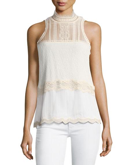 Threaded Tulle Lace Sleeveless Top