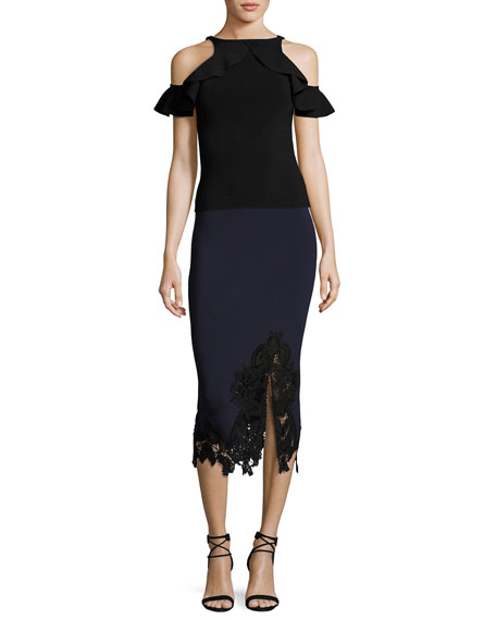 Applique Knit Midi Pencil Skirt, Black