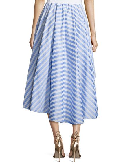 Adelle Striped Cotton Ruffle Skirt, Blue/White