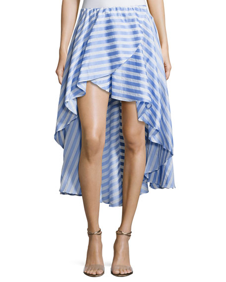 Caroline Constas Adelle Striped Cotton Ruffle Skirt, Blue/White