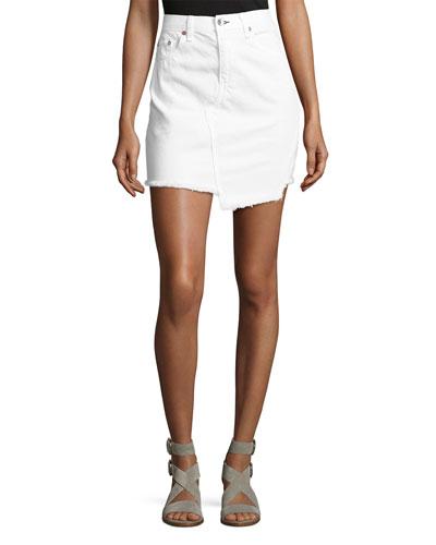 Dive Uneven Frayed Denim Skirt  White