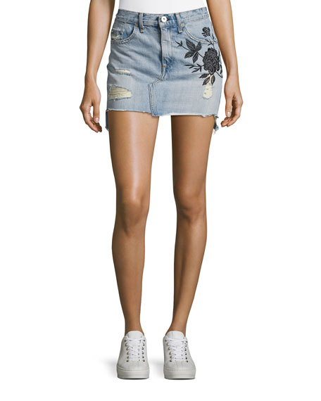 Dive Embroidered Denim Mini Skirt, Indigo