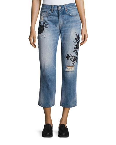 Ramona Embroidered Marilyn Crop Jeans, Indigo