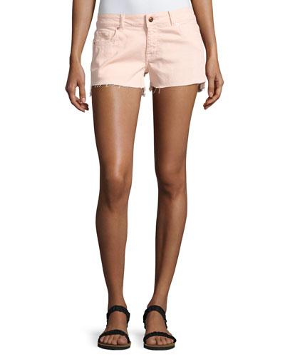 Renee Cutoff Step-Hem Shorts, Pink