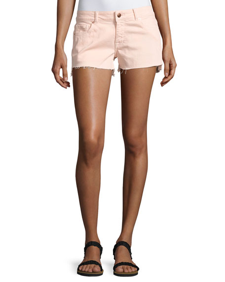 DL1961 Premium Denim Renee Cutoff Step-Hem Shorts, Pink