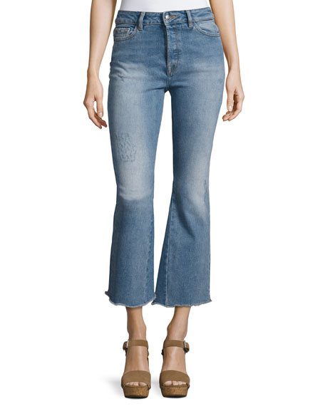 DL1961 Premium Denim Jackie Crop Flared Raw-Edge Jeans,
