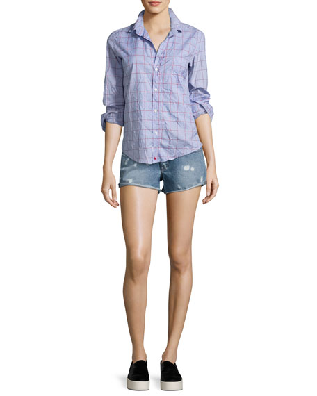 Renee Bleached-Spots Cutoff Denim Shorts, Indigo