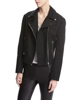 Moto Biker Cotton Jacket, Black