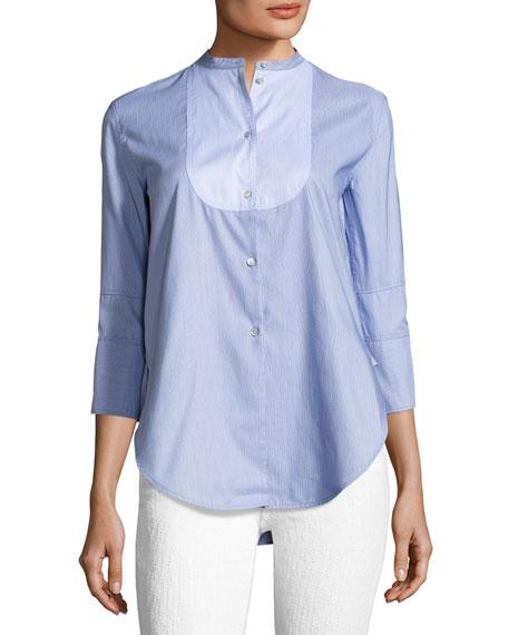 Helmut Lang Ottoman Tuxedo Poplin Shirt, Blue