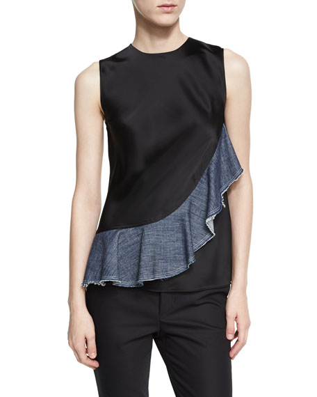 Helmut Lang Sateen Sleeveless Denim Ruffle Top, Black