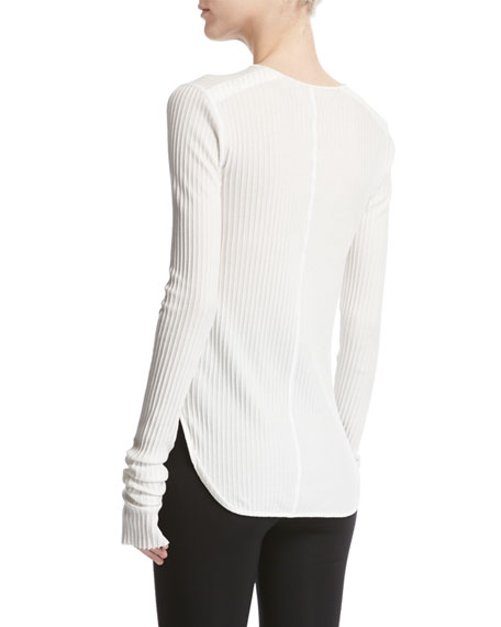 Corded Rib-Knit Long-Sleeve Cotton Top, White