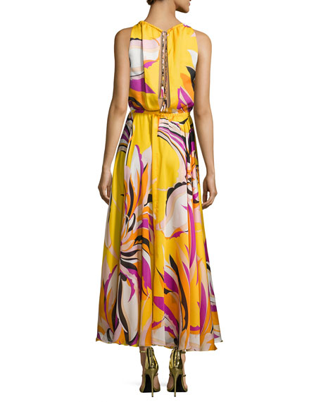 Fiore Maya Silk Halter Maxi Dress