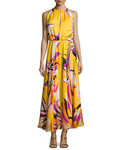 Fiore Maya Silk Halter Maxi Dress