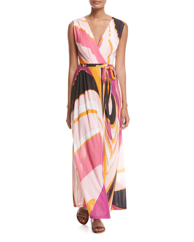 Sleeveless Libellula Coverup Maxi Dress, Pink Pattern