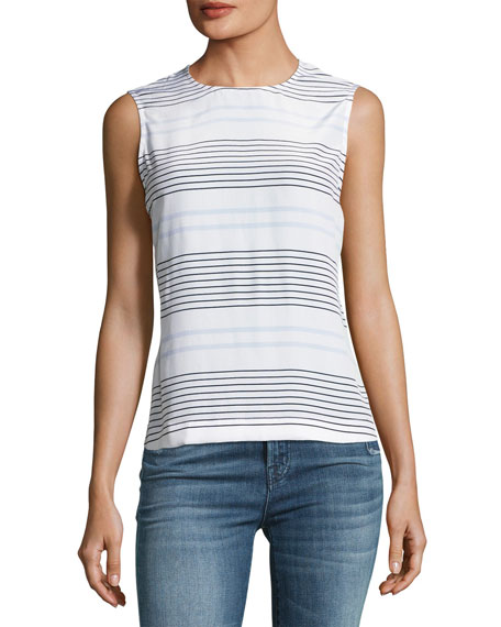 Equipment Reagan Striped Sleeveless Blouse, White/Blue