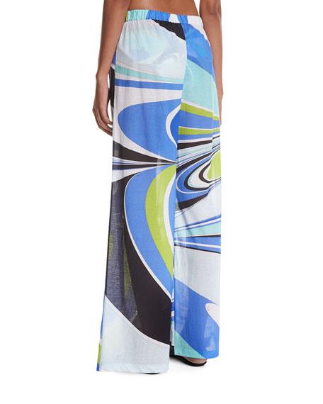 Jersey Libellula Coverup Pants, Blue Pattern
