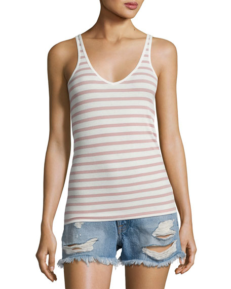 Striped Modal Rib Wrestler Tank, White/Pink