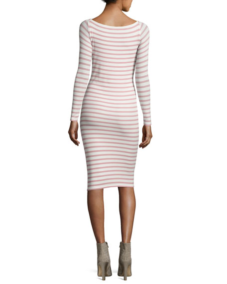 Modal Rib Long-Sleeve Striped Dress, White/Pink