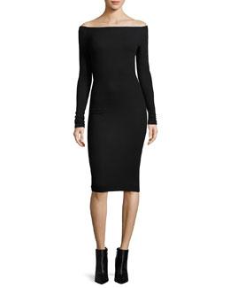 Modal Rib Off-the-Shoulder Midi Dress, Black