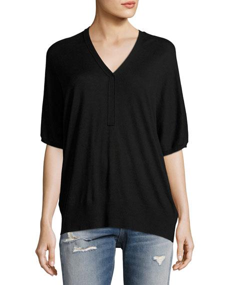 Batwing Henley Sweater Top, Black