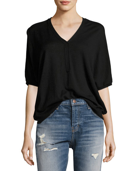ATM Anthony Thomas Melillo Batwing Henley Sweater Top,